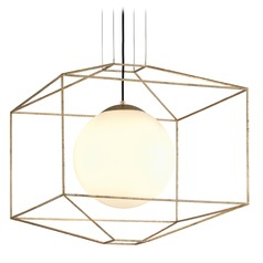 Troy Lighting Silhouette Gold Leaf Pendant Light with Globe Shade