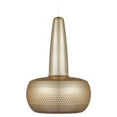 UMAGE Brushed Brass Mini-Pendant Light with Drum Shade