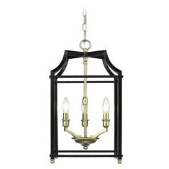 Leighton SB 3 Light Pendant in Satin Brass with Black