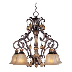Chandelier with Amber Glass in Filbert Finish