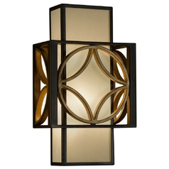 Sconce Wall Light with Brown Tones Shade in Heritage Bronze/parissiene Gold Finish