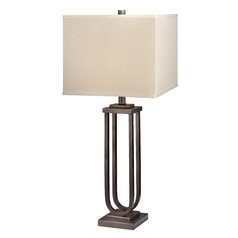 Modern Table Lamp with Beige / Cream Shade in Classic Bronze Finish