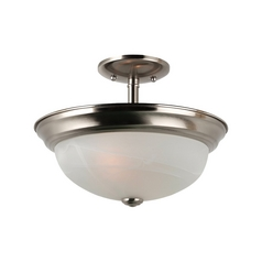 Semi-Flushmount Light with Alabaster Glass in Brushed Nickel Finish