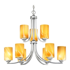 Modern Chandelier with Butterscotch Art Glass in Polished Chrome Finish