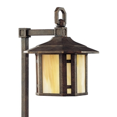 Progress Path Light with Art Glass in Weathered Bronze Finish