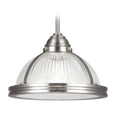 Sea Gull Lighting Pratt Street Prismatic Brushed Nickel Pendant Light