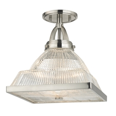 Prismatic Glass Semi-Flushmount Light Satin Nickel Hudson Valley Lighting