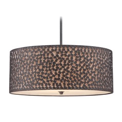 Quoizel Lighting Confetti Rustic Black Pendant Light with Drum Shade