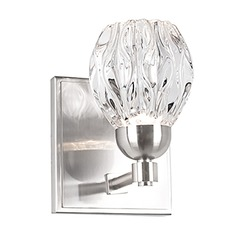 Modern Brushed Nickel LED Sconce with Clear Shade 3000K 229LM