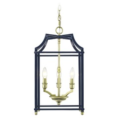 Leighton SB 3 Light Pendant in Satin Brass with Navy