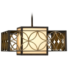Pendant Light with Brown Tones Shades in Heritage Bronze/parissiene Gold Finish
