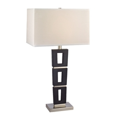Modern Table Lamp with White Shade in Satin Nickel / Slate Finish