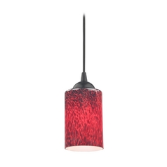 Contemporary Mini-Pendant Light with Red Art Glass Cylinder Shade