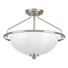 Farmhouse Semi-Flushmount Light Prismatic Glass Brushed Nickel Lucky by Progress Lighting