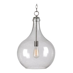 Seeded Glass Pendant Light Brushed Steel Kenroy Home Lighting