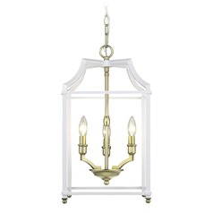 Leighton SB 3 Light Pendant in Satin Brass with White