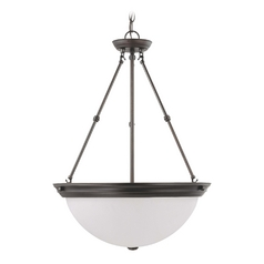 Pendant Light with White Glass in Mahogany Bronze Finish