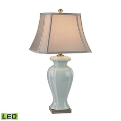 Dimond Lighting Celadon, Antique Brass LED Table Lamp with Cut Corner Shade
