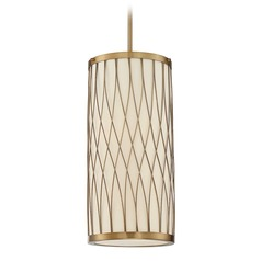 Savoy House Lighting Spinnaker Warm Brass Mini-Pendant Light with Cylindrical Shade