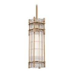 Hudson Valley Lighting Grant Aged Brass LED Mini-Pendant Light with Rectangle Shade