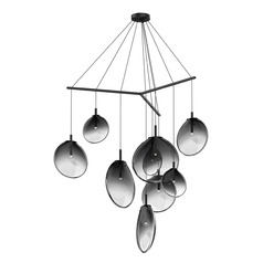 Mid-Century Modern LED Multi-Light Pendant Black Cantina by Sonneman Lighting
