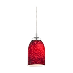 Art Glass Mini-Pendant Light with Red Dome Shade in Chrome Finish