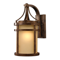 Outdoor Wall Light with Amber Glass in Hazelnut Bronze Finish