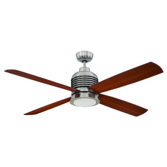 Ellington Metron Brushed Polished Nickel LED Ceiling Fan with Light