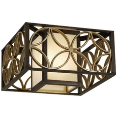 Flushmount Light with Brown Tones Shades in Heritage Bronze/parissiene Gold Finish