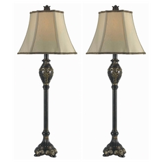 Table Lamp Set with Beige / Cream Shade in Bronzed Gold Finish