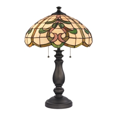 Table Lamp with Multi-Color Glass in Tiffany Bronze Finish