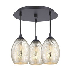 3-Light Semi-Flush Light with Mercury Oblong Glass - Bronze Finish