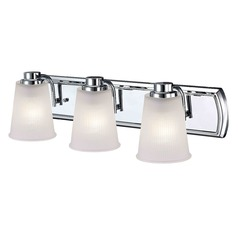 3-Light Bathroom Light with Frosted Prismatic Glass in Chrome Finish