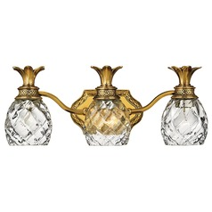 3-Light Burnished Brass Pineapple Bathroom Light with Clear Glass