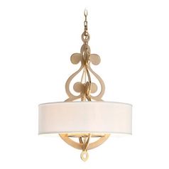 Corbett Lighting Olivia Large Brass Pendant Light with Drum Shade
