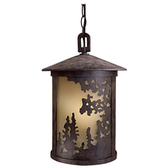 Outdoor Hanging Light with Beige / Cream Glass in Textured French Bronze Finish