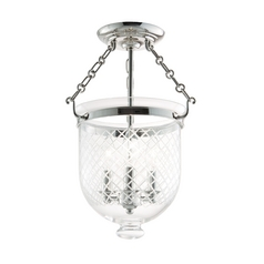 Semi-Flushmount Light with Clear Glass in Polished Nickel Finish