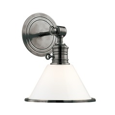 Sconce Wall Light with White Glass in Antique Nickel Finish