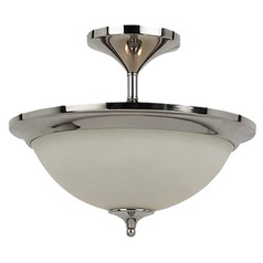 Sea Gull Lighting Modern Semi-Flushmount Light with White Glass in Polished Nickel Finish 77971-841