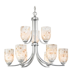 Chandelier with Mosaic Glass in Polished Chrome Finish
