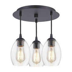 3-Light Semi-Flush Light with Clear Oblong Glass - Bronze Finish
