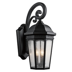 Kichler Outdoor Wall Light with White Glass in Textured Black Finish