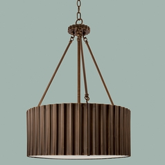 Norwell Lighting Metalique Burnished Bronze Pendant Light with Drum Shade