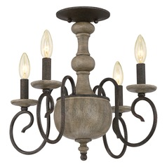 Quoizel Castile Rustic Black Semi-Flushmount Light