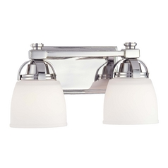 Minka Lighting Modern Bathroom Light with White Glass in Polished Nickel Finish 6502-613