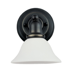 Sconce Wall Light with White Glass in Heirloom Bronze Finish