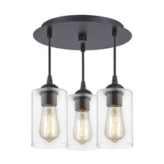 3-Light Semi-Flush Light with Clear Cylinder Glass - Bronze Finish