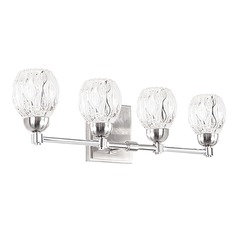 Modern Brushed Nickel LED Bathroom Light with Clear Shade 3000K 1600LM