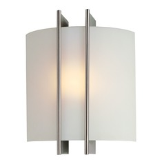 Lite Source Lighting Modern Sconce Wall Light with White Glass LS-1673
