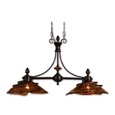 Island Light with Art Glass in Oil Rubbed Bronze Finish